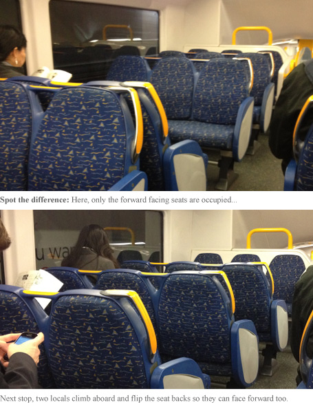 These Sydney train seats can be switched to face either direction