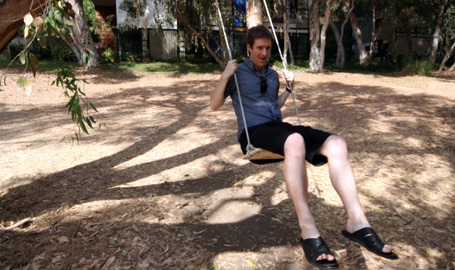 Swinging in nirvana at the Eames house.