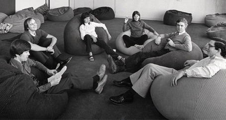 Researchers at Xerox in the 80s. Beanbags, Check. Whiteboards, Check. Partings, Check.